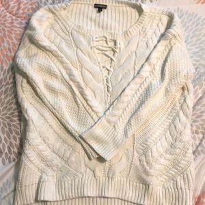 Long sleeve white sweater